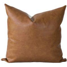 FARMHOUSE Pillow Covers 18X18~Set of 2~Faux Brown LeatherBIRD Print~Spring~Garden~Canvas~Throw Pillow
