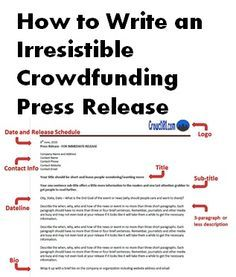 Only you care enough about your #crowdfunding or #fundraising project to put in the time needed for an amazing press release. Follow these steps and template to write a release that gets attention! crowdfunding tips, crowdfunding campaigns #crowdsourcing Fundraising ideas, crowd fundraising, nonprofit fundraising