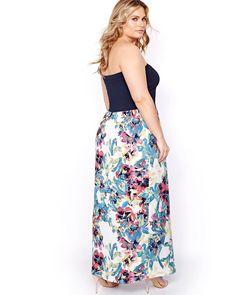 Rachel Roy Strapless Maxi Dress with Print
