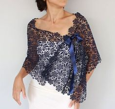 Ultramarine Cotton Lace Stole Dark Navy Blue by mammamiaeme Lingerie Look, Bridal Shrug, Crochet Poncho, Cotton Lace, Mode Inspiration, Blouse Designs, Ideias Fashion, Fashion Dresses, Dress Up