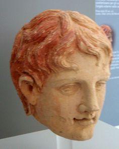 Etruscan terracotta male head Belvedere, Rome C.200BC Puglia urban museum