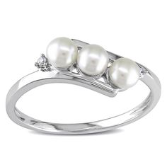 Miadora 10k White Gold Cultured Freshwater Pearl and Diamond Accent Ring (3 mm) | Overstock.com Shopping - The Best Deals on Pearl Rings