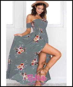 ca640a6c62b long dress Boho style women Off shoulder beach summer dresses Floral