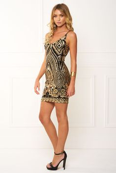 Honey Couture - Ashley Gold Sequin Bra Midi Dress