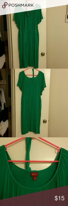 Green dress with sash This light, flowy green dress is great for so many occasions. It has a sash with loops at the waist to anchor it. Hits me at the knee. Great condition!  95% rayon 5% spandex  Merona size 2 Merona Dresses