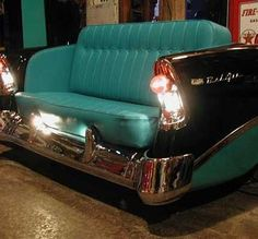 Automotive Decor what a great aqua sofa, now I know what to do with old auto parts... Reinvent them as Furniture.