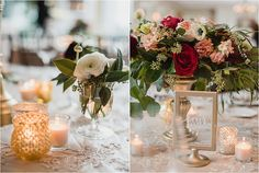 I'm obsessed with this elegant centerpiece. Small candles, candlesticks and bud vases full of ranunculus surround this gold urn full of lush greenery, cranberry dahlia, blush english tea roses, create a stunning unstructured centerpiece. Black tie Oakland Hills Country Club Wedding  in West Bloomfield, Michigan provided by Kari Dawson, top rated Metro Detroit engagement and wedding photographer, and her team.