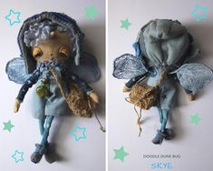 Skye a one of a kind little sand doodle dune bug Dee Day, Pixie Ears, Dungarees Shorts, Bug Art, Little Doodles, Blue Wings, Jute Bags, Stars At Night, Creative Gifts