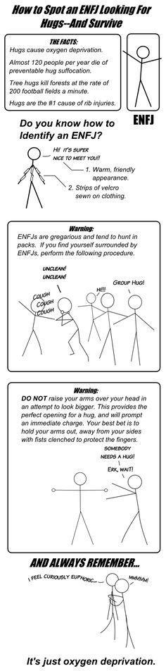 Huggers.... ugh!  ENFJ Hug | Oddly Developed Types   #INTP