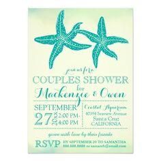 "Vintage Beach Starfish Couples Wedding Shower 4.5"" X 6.25"" Invitation Card"
