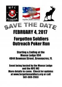 Greenacres, FL - Feb. 4, 2017: 4th Annual Forgotten Soldiers Outreach Poker Run. All proceeds from the poker run will benefit Forgotten Soldiers Outreach.