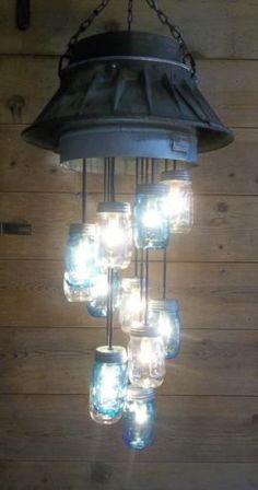 STEAMPUNK-Light-fixture-Antique-BARN-Cupola-Roof-Vent-Industrial-Mason-Jar-Light