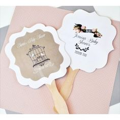 Personalized Paddle Hand Fans - Vintage Baby Shower