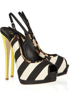 black and white stripes, yellow snakeskin / Giuseppe Zanotti #giuseppezanottiheelsfun #giuseppezanottiheelswhite