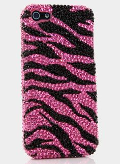 Pink and black zebra design bling iphone case