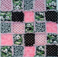 Panda Pink Black Rag Quilt