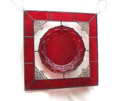 Avon Ruby Red Cape Cod Vintage Plate Stained Glass Suncatcher