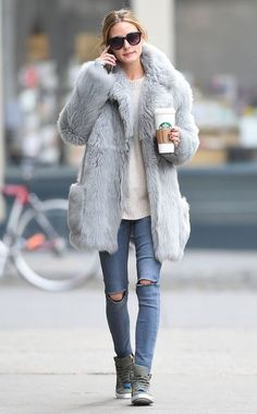 Proof: Olivia Palermo is the Street Style Queen of Pinterest | Chunky Fur and Sneaks