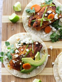 Seared Spicy Fish Tacos are baked in the oven instead of deep fried #healthy #mexican #recipe on foodiecrush.com