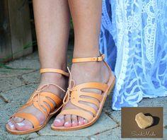 Ankle Strap Sandals, Leather sandals, Greek Sandals , Women Sandals, Strappy Sandals, Natural Colour Sandals,  Handmade Sandals, CHARA by SandmadeSandals on Etsy