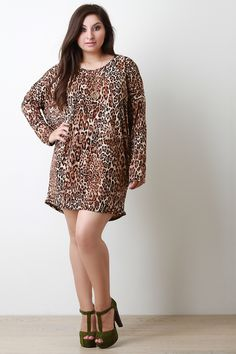 Plus Size Leopard Print Tunic Dress. If this was longer with a belt I'd love it :)