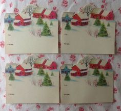 4 Vintage 1950s UNUSED Christmas Present Gift Tags With Country Farm In Snow in Collectibles, Paper, Vintage Greeting Cards   eBay