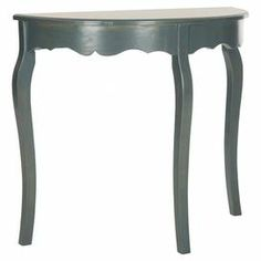 """Demilune console table with a scalloped apron.  Product: Console tableConstruction Material: WoodColor: TealDimensions: 30.1"""" H x 33.9"""" W x 14.4"""" D"""