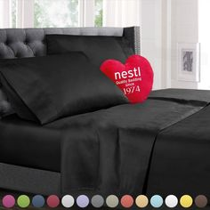 Nestl Bedding Queen Bed Sheet Bedding Set With Deep Pocket Fitted Sheet    Black
