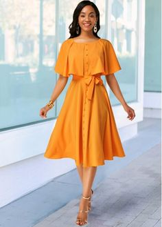 Women'S Ginger Belted A Line Cocktail Party Spring Dress Solid Color Button Detail Round Neck Cute Midi Dress By Rosewe Button Detail Ginger Belted African Fashion Dresses, African Dress, Fashion Outfits, Abaya Fashion, Fashion Clothes, Stylish Dresses, Beautiful Casual Dresses, Elegant Dresses Classy, Modest Dresses Casual