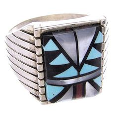 Multicolor Inlay Sterling Silver Navajo Indian Ring Size 10-1/2 PS64388 http://www.silvertribe.com