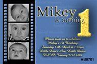 Blue Movie Slide Birthday Party Invitation