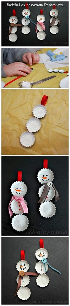 DIY Bottle Cap SNowmen Ornaments diy crafts christmas easy crafts diy ideas christmas ornaments christmas crafts christmas ideas christmas decor christmas diy christmas crafts for kids chistmas tutorials ideas for christmas Snowman Crafts, Christmas Projects, Holiday Crafts, Holiday Fun, Christmas Ideas, Favorite Holiday, Simple Christmas Crafts, Christmas Baskets, Christmas Wrapping