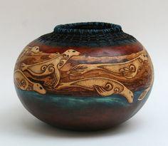 Selkie Swim - Celtic Seal Gourd Art Bowl Pine Needle Rim via Etsy