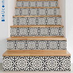 Encaustic Moroccan Tile Wall Stair Floor Self Adhesive Vinyl Stickers,Kitchen Bathroom Backsplash Carrelage Decal, Peel & Stick Home Decor Tile Decals, Wall Tiles, Vinyl Decals, Wall Stickers, Peel And Stick Tile, Stick On Tiles, Diy Design, Flooring For Stairs, Basement Stairs