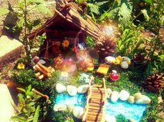 Fairy house,fairy garden, table decor, garden, miniatures, collectibles, moss, cats figurines, ceramic, souvenire,gift, house