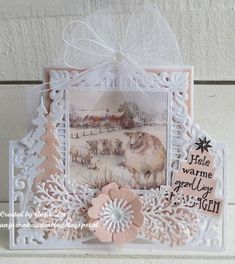 Creatables LR0553 Anja's lacy folding die: square | MD September 2018 | Hobbykaartenpetra Christmas Cards 2018, Christmas Tag, Christmas Ornaments, Marianne Design, Creative Cards, Mini, Banners, Decorative Boxes, September