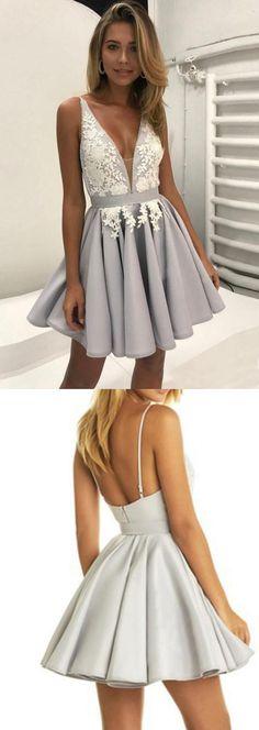 Deep V Neck Prom Dresses,Short Prom Dress,Sleeveless Prom Dress,Appliques Homecoming Dresses,Pleats Prom Gown,Cheap Homecoming Dress,Short Party Dress