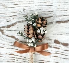 Hey, I found this really awesome Etsy listing at https://www.etsy.com/listing/174646203/woodland-handmade-boutonniere-pinecones