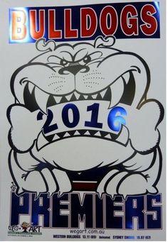 2016 AFL WESTERN BULLDOGS PREMIERSHIP METAL FOIL Weg Art Grand Final Poster #HERALDSUN #WesternBulldogs