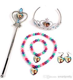 Children Tiara Crown Magic Wand Necklace Bracelet Earrings Crystal The Snow Queen Elsa Anna Hair Band Christmas Xmas Gift For Girls Dhl Free