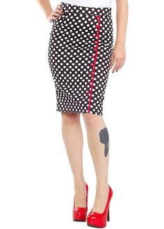 Sourpuss Bombshell Pencil Skirt Polkadot Black