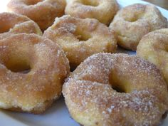 Cinnamon Sugar Doughnuts Made With Canned Biscuits - I used the flaky kind and they turned out awesome! The butter makes the even better!!!