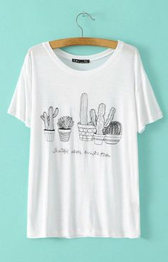 Cactus Print T-Shirt – Trendy Road