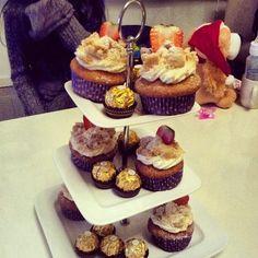 Sweet strawberry crumble cupcake