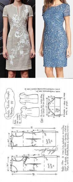 Vestido tubinho simples manga curta | DIY - molde, corte e costura - Marlene Mukai