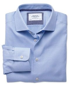 Classic fit semi-cutaway collar business casual double-faced sky shirt