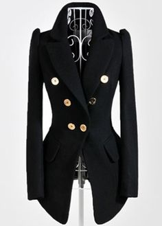 Fashion Style Long Sleeve Black Double Breasted Blazer