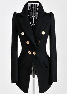 Fashion Style Long Sleeve Black Double Breasted Blazer