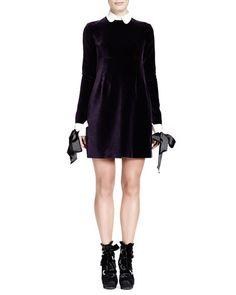 B2M93 Alexander McQueen Velvet Contrast-Trim Long-Sleeve Dress