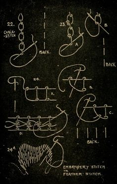 """Various embroidery stitches, and their permutations. From the public domain book """"Embroidery; or, The craft of the needle (1908)."""""""